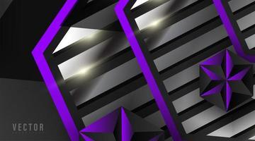 abstracte geometrische zilveren en paarse vormenachtergrond vector