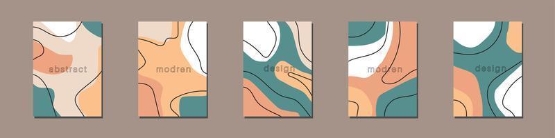 verzameling creatieve verhaalsjablonen met kopie ruimte voor tekst. moderne vectorlay-out met hand getrokken organische vormen en texturen. trendy ontwerp voor sociale media marketing digitale banner afdrukken.
