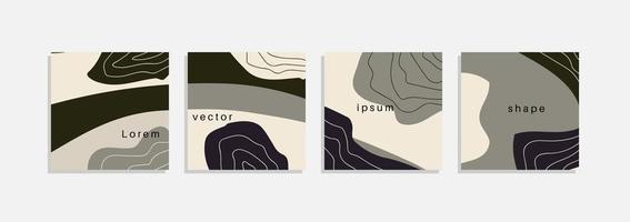 vector set minimale achtergronden met abstracte organische vormen, hand tekenen lijn en voorbeeldtekst. eigentijdse collage. minimale stijlvolle hoes voor merkontwerp.