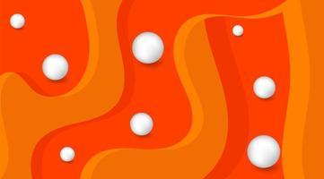3d bal golvende oranje achtergrond. golven en ballen. vectorillustratie in papier gesneden stijl. elegante decoratie. moderne designposters, flyers, achtergronden.