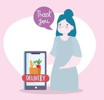 veilige bezorging thuis tijdens coronavirus covid-19, jonge vrouw met smartphone bestelt online voedselmarkt