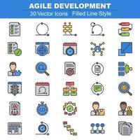 agile ontwikkeling pictogrammen gevulde lijn
