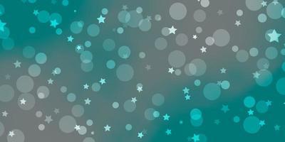 lichtblauwe, groene vectortextuur met cirkels, sterren. vector