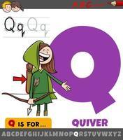 letter q werkblad met cartoon pijlkokerobject vector