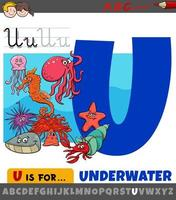 letter u uit alfabet met cartoon onderwaterdieren vector