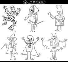 kinderen in halloween kostuums instellen cartoon kleurboekpagina vector