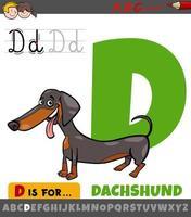 letter d werkblad met cartoon teckel hond vector