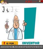letter i werkblad met cartoon uitvinder vector