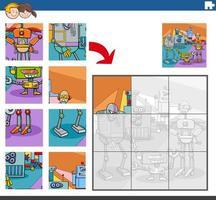 puzzelgame met komische robotpersonages vector