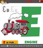 letter e-werkblad met cartoon-engine vector