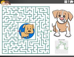 doolhof educatief spel met puppykarakters vector