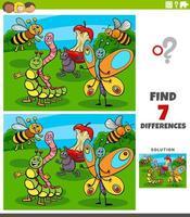 verschillen educatief spel met insectenkarakters vector