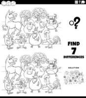 verschillen educatief spel met boerderijdieren kleurboekpagina vector