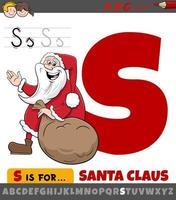 letter s werkblad met cartoon kerstman vector