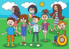 grappige kinderen en tieners stripfiguren groep vector