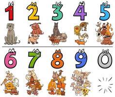 educatieve cartoonnummers instellen met dierlijke karakters van honden