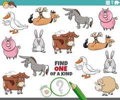 uniek spel voor kinderen met boerderijdieren vector