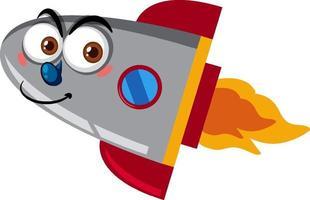 rocketship cartoon met blij gezicht op witte achtergrond vector