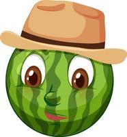 watermeloen stripfiguur met gezichtsuitdrukking vector