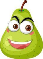 groene peer stripfiguur met blij gezicht expressie op witte achtergrond vector