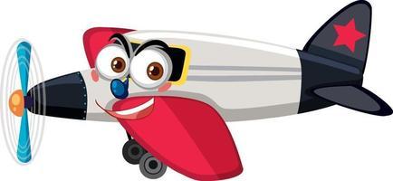 vliegtuig met gezicht expressie stripfiguur op witte achtergrond vector