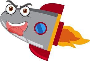 rocketship cartoon met gek gezicht op witte achtergrond vector