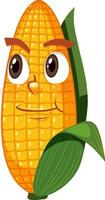 schattig maïs stripfiguur met gezichtsuitdrukking op witte achtergrond vector