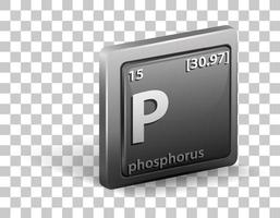 fosfor scheikundig element. chemisch symbool met atoomnummer en atoommassa. vector