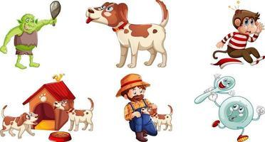 set van verschillende kinderliedjes karakter geïsoleerd op een witte achtergrond