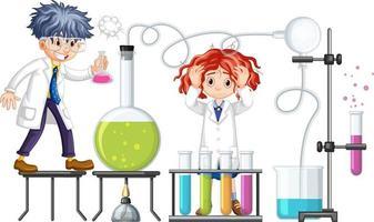 onderzoeker experimenteren met chemische items vector