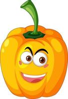geel capsicum stripfiguur met blij gezicht expressie op witte achtergrond