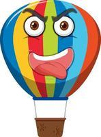 hete luchtballon stripfiguur met een boze gezichtsuitdrukking op witte achtergrond