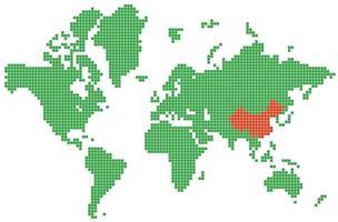 gestippelde wereldkaart met china vector