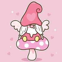 schattige kabouter vector zittend op zoete paddestoel kawaii cartoon afbeelding voor Valentijnsdag