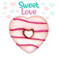 schattig roze aquarel hart donut zoete liefde bericht vector