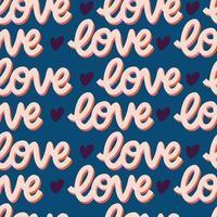 naadloze patroon met handgeschreven bericht liefde voor gelukkige Valentijnsdag. kleurrijke vlakke afbeelding. vector