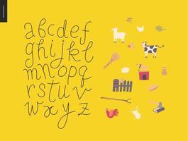 vector script alfabet