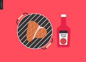 barbecue gegrild vlees en ketchup vector