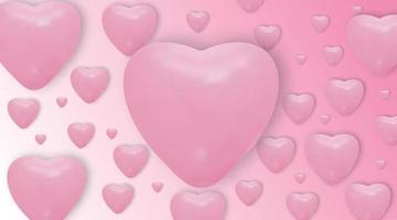roze hartballonnen op roze achtergrond. vector realistische ballonnen. valentijnsdag vector achtergrond.
