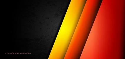 abstracte sjabloon rode, oranje, gele overlappende lagen op de zwarte achtergrond van de grungetextuur.