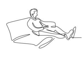een doorlopende lijntekening van de jonge gelukkige tienermens rust uit door op de bank te gaan liggen terwijl hij zijn lichaam ontspant. genieten van tijd concept enkele regel tekenen teken ontwerp vectorillustratie vector