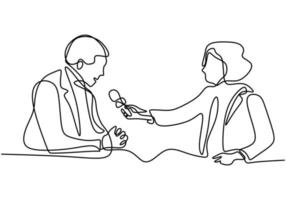 continu een enkele lijntekening van journaliste. een professionele vrouwelijke journalist die een zakenman interviewt. vector