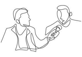 een doorlopende lijntekening van een man die een microfoon in de hand houdt en een vraag stelt aan een andere man
