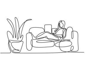een doorlopende lijntekening van een meisje, zittend op haar bank.