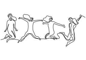 doorlopende lijntekening van springende gelukkige teamleden. vier jonge mensen springen samen om hun geluk te uiten. groep van vier mensen springen en vrijheid minimalistisch design. vector illustratie