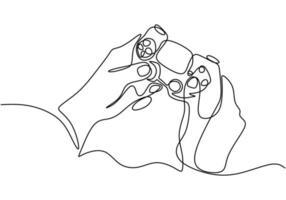 één doorlopende lijntekening van handen met joystick. vector