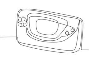 doorlopende lijntekening van het pictogram van de gameconsole in badge-stijl. vector