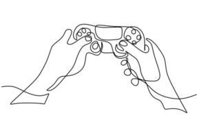 één doorlopende lijntekening van handen met joystick.