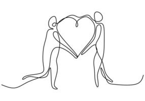een doorlopende lijntekening van handen met teken van liefde. handen vrouw en man minimalisme ontwerp bij elkaar te houden geïsoleerd op een witte achtergrond. liefdesverhaal concept. vector illustratie