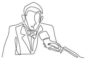 een doorlopende lijntekening van een zakenman wordt geïnterviewd door een televisiejournalist met een microfoon in de hand